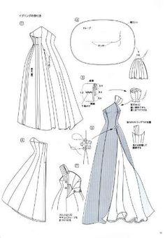 Sewing Dress Liane Evening Dress Pattern - Page 4 of 4 Sewing Dress, Dress Sewing Patterns, Sewing Clothes, Doll Patterns, Barbie Clothes Patterns, Clothing Patterns, Fashion Sewing, Diy Fashion, Fashion Goth
