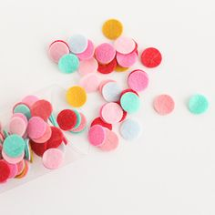 Colorful and bright, Felty Fabulous Confetti will enliven any space. Just imagine it...Sprinkled on your party tableNestled into petite glassine bagsAs a little