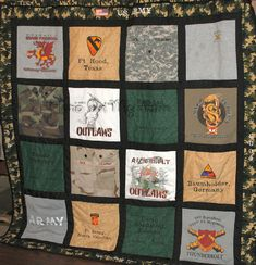 t-shirt quilt for all his units, deployments, or training he& been in! This would be an awesome retirement from the army gift :) Military Retirement Parties, Retirement Gifts, Army Girlfriend, Army Mom, Army Gifts, Marine Mom, Man Quilt, Military Love, Shirt Quilt