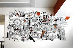 Nike London HQ redesign by Rosie Lee - 'Welcome To London' mural by Chris Martin. Image via Dezeen. Office Mural, Office Artwork, Office Walls, Office Decor, Office Chairs, Mural Art, Wall Murals, Wall Art, Nike London