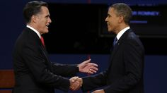 86 Social media weighs in on 2012 presidential debate  Published October 04, 2012  Associated Press      Oct. 3, 2012: Republican presidential nominee Mitt Romney and President Barack Obama  shake hands before the first presidential debate at the University of Denver. (AP)