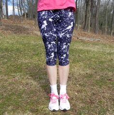 Black & White Paint Splatter Leggings or Running Tights