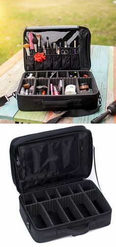 Portable Large Travel Oxford Soft Makeup Bag with Mirror in Black--Joligrace  Eyebrow Makeup 19bfcf3e1ed89
