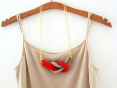 Together, crochet knot necklace. Nautical knot necklace. Red and sand cotton yarn. $16.00, via Etsy.
