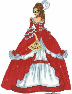 0 point de croix femme robe rouge et masque - cross stitch lady in red dress with a mask Cross Stitch Designs, Cross Stitch Patterns, Bonnet Pattern, Princess Zelda, Disney Princess, Betty Boop, Masquerade, Lady In Red, Aurora Sleeping Beauty