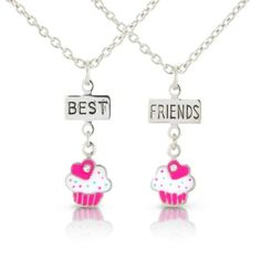 Childrens Pink Best Friends Childrens Necklaces, 2 Yummy Pink Cup Cake Pendants cute friendship necklaces: Amazon.co.uk: Jewellery