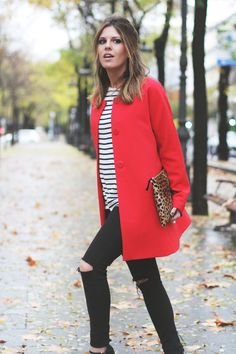red coat, stripes, ripped jeans, leo clutch, classy sailor shirt, mix of prints