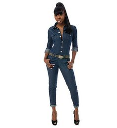 Baby Phat Blue Jean Jumpsuit | BABY PHAT Jeans Blue SKINNY JUMPSUIT (PLUS SIZES 14-24) - Jeans and ...