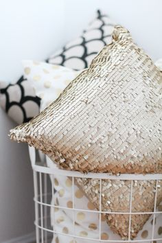 A gold pillow to sparkle up any room