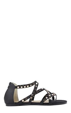 Deb Shops Strappy Gladiator Sandals with Pyramid Stud Accents $18.67