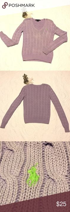 Ralph Lauren Lavender Cable Knit Sweater Cute sweater for a casual look.  Slightly worn but in good condition Ralph Lauren Sport Sweaters V-Necks