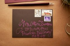 Wedding Calligraphy - Fun, Quirky Chocolate Brown Envelope Addressing. $20.00, via Etsy.