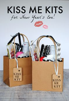 Kiss Me Kits for New Year's Eve! Fill a bag or basket with everything for the perfect kiss at Midnight - a fizzy drink to share, sparklers, gum & more!  These make great party favors for guests!