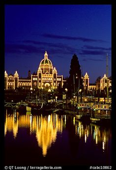Victoria, British Columbia, Canada, September Parliament buildings lights reflected in the harbor. Places Around The World, Oh The Places You'll Go, Places To Travel, Around The Worlds, Wonderful Places, Great Places, Beautiful Places, O Canada, Canada Travel