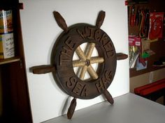 Pirate ship wheel and port holes