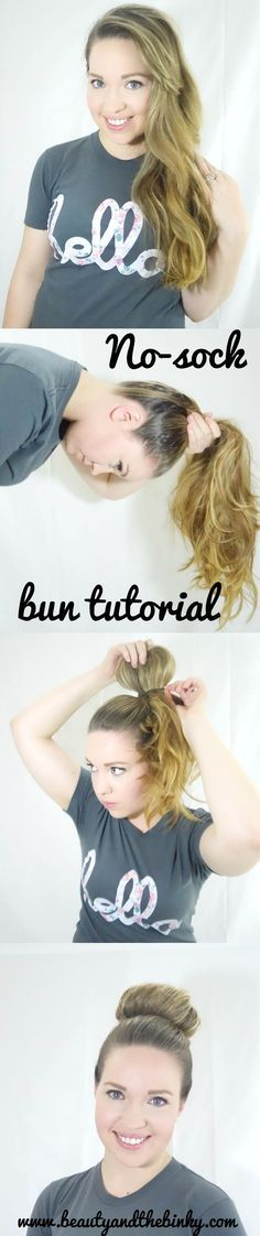Long Hair Tips for a Sock Bun without the sock! Mom buns make it easy for working moms!