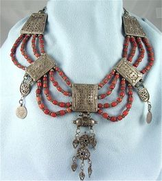 Antique Yemen Silver Bridal Dowry Necklace Amulet Coral Dated Coins | craftsofthepast - Antiques on ArtFire