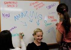 Self-Esteem booster group activity: Have one girl sit on a chair in front of a white board while the others write positive phrases about them. They cannot peek at what is being written. Take a picture and give it to them. Youth Group Activities, Youth Games, Team Building Activities, Youth Groups, Leadership Activities, Sisterhood Activities, Therapy Activities, Sorority Bonding Activities, Team Building Questions