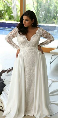 Plus size lace wedding gown that will take your breath off. Comes with long sleeves and detachable skirt. MILENA. STUDIO LEVANA. 2018