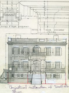 c. 1991 proposed restoration of front facade, Terrell-Stone House, Sparta, Ga.