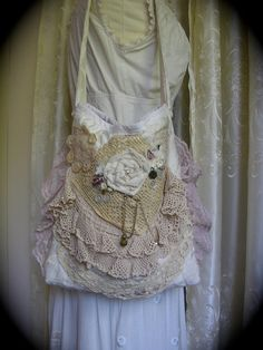 Crocheted Doily Bag lilac vintage crocheted doilies lace roses buttons, handmade ooak. $120.00, via Etsy.