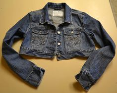 Babblings and More: Cropped Jean Jacket Refashion