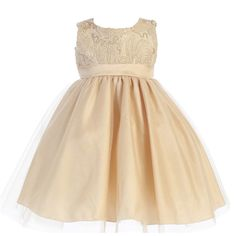 Lito Big Girls Gold Glitter Corded Top Shiny Tulle Christmas Dress 7-10 -- Awesome products selected by Anna Churchill