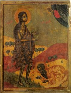 """St. Mary of Egypt. Icon in paint and gold on wood. Syrian; circa the 1700s A.D. Location: The Monastery of Our Lady of Balamand, Lebanon. Source: """"The Icon: Its Meaning and History."""" By Mahmoud Zibawi. Translated into English from Italian by Patrick Madigan, OSB, and assisted by Madeline Beaumont. Published by Liturgical Press (Collegeville, Minnesota, United States), 1993; ISBN 0-8146-2264-X. Plate 72."""