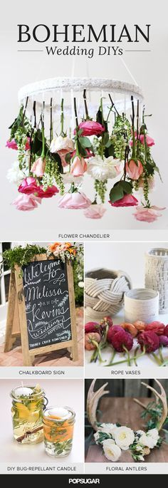 Mason jars, succulents, wood, and wildflowers. If you love these rustic additions to your decor, then a bohemian wedding is perfect for you — especially if it's outdoors. The good thing about boho chic is that you don't have to break your budget to pull it off perfectly, and we've rounded up easy DIYs for your wedding decor that will give your big day the naturally beautiful vibe you're looking for.