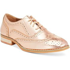 Wanted Babe Lace-Up Oxfords (755 ZAR) ❤ liked on Polyvore featuring shoes, oxfords, rosegold, lace up shoes, lace up oxfords, oxford shoes, laced shoes and rose gold oxford shoes
