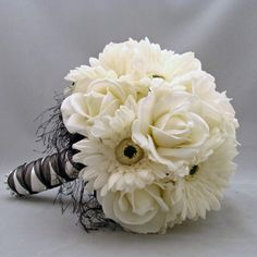 Silk Flower Bridal Bouquet Boutonniere Gerber Daisy Roses Real T...... | SongsFromTheGarden - Wedding on ArtFire
