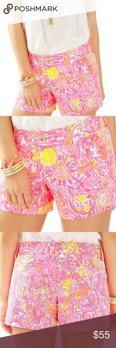"NWT 10 Lilly Pulitzer Callahan Shorts Pink Keys Simply bright, beautiful, and adorable classic Callahan shorts with 5"" inseam.  Print: Pink Pout More Kinis In The Keys with suns and bikinis - $64.00 retail.  Guaranteed new, authentic and with tags.  100% Cotton.  Machine Wash Cold.  Please see my other Lilly listings to bundle and save! 🌴💗🌴💗 The sizing chart included in photos is from the Lilly Pulitzer website for your reference 🌴💗🌴💗 Lilly Pulitzer Shorts"