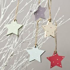 Hand Painted Wooden Star Decorations