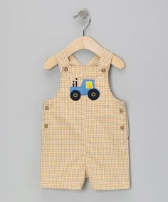 Take a look at this Mustard Tractor Shortalls - Infant by Katie & Co. on #zulily today!