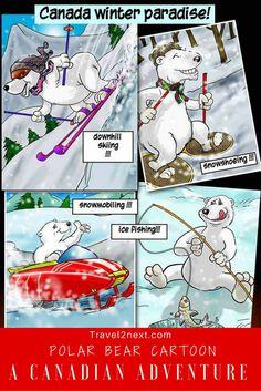 Polar Bear Cartoon and a fun peek into where do polar bears live. Here are some polar bear facts and polar bear pictures. Polar Bear Facts, Polar Bear Cartoon, Polar Bears Live, Canadian Travel, Canadian Rockies, Discover Canada, Canada Destinations, Bear Pictures, Travel Inspiration