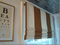 DIY No Sew Faux Roman Shade- with dowels outside mount###***