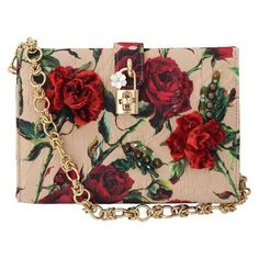 Dolce & Gabbana Small Rose Print Canvas Bag found on Polyvore