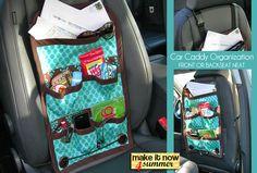 Dieses Hänge-Utensilo für das Auto ist super um Kinderspielsachen, Getränke und Snacks unterzubringen. Speziell für lange Fahrten ist diese Tasche perfekt!