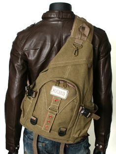 Men's Rugged Military-style Single-shoulder Crossbody Canvas Backpack - Black #Monsoon #Style