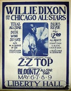 Capacity 450 Built in the early the building was originally a church, but soon became an American Legion. The Harris County Tax. Rock Posters, Band Posters, Concert Posters, Rhythm And Blues, Blues Music, Music Music, Music Covers, Album Covers, Willie Dixon