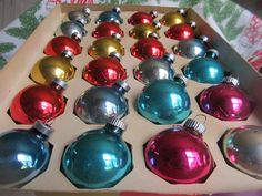 Vintage 24 Colorful Christmas Ornaments Some by AuntSuesVintage, $18.99