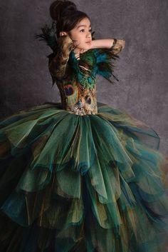 Années 50 Graisse Costume Robe Fantaisie Enfant T oiseaux Dance Show