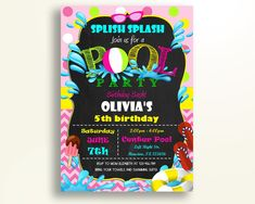 Pool Party Birthday Invitation Pool Party Birthday Party Invitation Pool Party Birthday Party Pool Party Invitation Girl OJWJW - Digital Product #birthdayInvites #birthdayPartyInvites #birthday