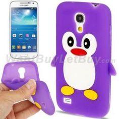 Cute Penguin Shape Silicone Case for Samsung Galaxy S4 Mini i9190 - Purple