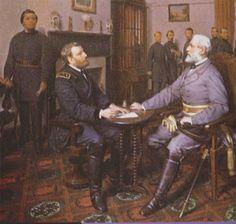 Le général Lee se rend au général Grant à l'issue de la bataille d'Appomatox