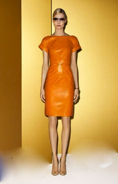 A Little Neon Sheer Dress: Gucci tangerine leather dress