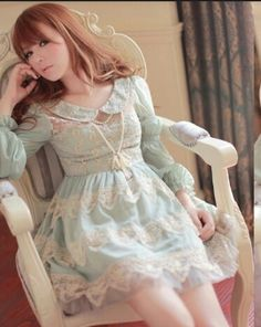 Blue Victorian Lolita Dress from Pocket Tokyo Gyaru Fashion, Kawaii Fashion, Cute Asian Fashion, Korean Fashion, Rilakkuma, Pretty Pastel, Kawaii Girl, Japan Fashion, Lolita Dress