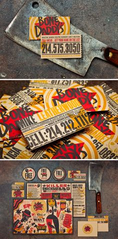 The Top 16 Food Business Cards - Design Ideas || Bone Daddy's BBQ restauarnt business Cards and branding design – by Matchbox Studio