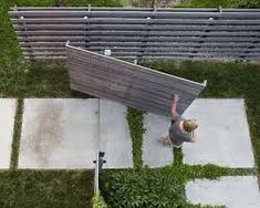 What looks like a fence panel pivots unexpectedly to open into another, hidden, . What looks like a fence panel pivots unexpectedly to open into another, hidden, area Fence Design, Garden Design, Wooden Fence Gate, Wire Fence, Fence Panels, Garden Structures, Outdoor Projects, Landscape Design, Contemporary Landscape