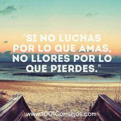"""Si no luchas por lo que amas, no llores por lo que pierdes."" #Frases #FrasesDeLaVida #FrasesParaReflexionar"